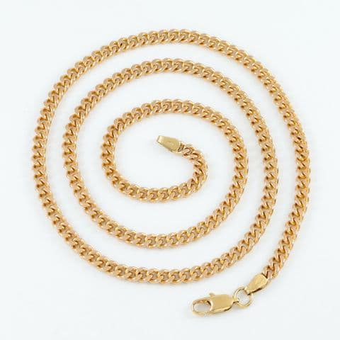 Vintage Solid 9Ct Rose Gold Flat Curb Link Chain Necklace 21 1/2''